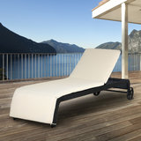 Ligstoel met verstelbare rugleuning, inclusief kussen, polyrotan, wicker, ligbed, zonnebed _
