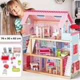 Poppenhuis, houten poppenhuis, met meubels_