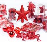 Kerstballenset, 102 delig, rood, kerstdecoratie, kerstversiering_