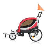 Fietsaanhanger fietskar kinderfietskar, kinderwagen jogger in rood/ grijs, Premium uitvoering_