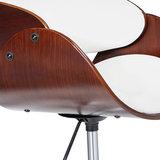 Design bureaustoel, retro, wit/ bruin_