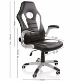 Racing bureaustoel Zwart/Wit/Zwart, gevoerde en verstelbare armleuningen, kantelmechanisme,_