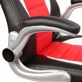 Racing bureaustoel Zwart/Wit/Rood, gevoerde en verstelbare armleuningen, kantelmechanisme,_
