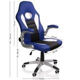 Racing bureaustoel Blauw/Wit/Zwart, gevoerde en verstelbare armleuningen, kantelmechanisme,_