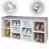Schoenenkast voor 10 paar schoenen, schoenenrek, schoenrek, met zitplek, opbergkast_