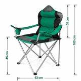 Campingstoel, vouwstoel, festivalstoel, klapstoel, groen, met bekerhouder, opbergtas_