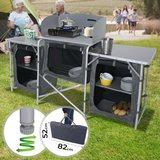 Camping keuken, 5 vakken, Aluminium, windscherm, opvouwbaar, zwartgrijs, incl. Draagtas, Campingkast, reiskeuken, aluminium keukenkast, tentkast_
