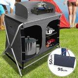 Camping keuken, 3 vakken, Aluminium, windscherm, opvouwbaar, zwartgrijs, incl. Draagtas, Campingkast, reiskeuken, aluminium keukenkast, tentkast_