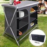 Camping keuken,Aluminium, opvouwbaar, zwartgrijs, incl. Draagtas, Campingkast, reiskeuken, aluminium keukenkast, tentkast_