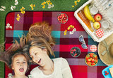 Picknickdeken, lichtblauw-rood-bordeaux, ruit motief, picknickkleed, 195 x 150 m, waterdicht, campingdeken, outdoor plaid, stranddeken_