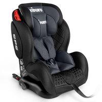 Autostoeltje grijs met Isofix, meegroeistoel, kinderstoel, 9 kg - 36 kg, 1-12 jaar