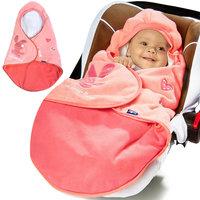 Babydeken met voetenzak, roze, gevoerd
