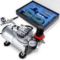 Airbrush compressor set met zuigcompressor