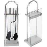 Design set voor open haard of kachel, haardset met glazen voorkant