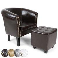 Chesterfield fauteuil met hocker, zetel, stoel in 4 kleuren