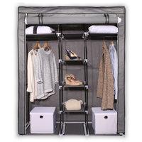 Stoffen kledingkast middelgroot grijs, stoffen kledingkast, opvouwbare kledingkast, opvouwbare kast, garderobekast, stoffen garderobekast, opvouwbare garderobekast, kledingkast camping,