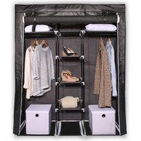 Stoffen kledingkast middelgroot zwart, stoffen kledingkast, opvouwbare kledingkast, opvouwbare kast, garderobekast, stoffen garderobekast, opvouwbare garderobekast, kledingkast camping,