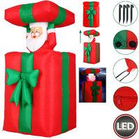 Kerstman in cadeau, opblaasbaar, beweegt op en neer, voor binnen en buiten