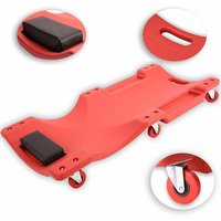 Verrijdbare ligmat, garage ligbed, werkbank, werkkruk, rolbord, rolplank, montage rolplank, rood
