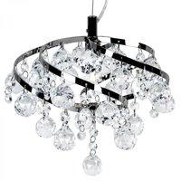 Plafondlamp met druppelvormige kristallen, in hoogte verstelbaar