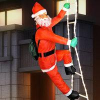 Kerstman op ladder, ladder 90 cm., kerstversiering