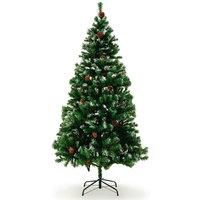 Kunstkerstboom, kerstboom, 180cm, met dennenappels en besneeuwde takken