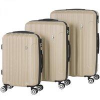Kofferset, trolleyset, champagne, set van 3, 33-65-90 liter, hardschalen koffers, cijferslot, rolkoffers