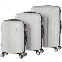 Kofferset, trolleyset, zilver, set van 3, 33-65-90 liter, hardschalen koffers, cijferslot, rolkoffers
