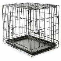 Bench maat S 60 x 42 x 52 cm, transportkooi, hondenbox draadkooi, hondenkooi, autotransportbox, zwart, met 2 deuren, opvouwbaar