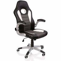 Racing bureaustoel Zwart/Wit/Grijs, gevoerde en verstelbare armleuningen, kantelmechanisme,