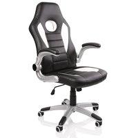 Racing bureaustoel Zwart/Wit/Zwart, gevoerde en verstelbare armleuningen, kantelmechanisme,