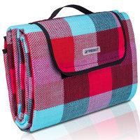 Picknickdeken, lichtblauw-rood-bordeaux, ruit motief, picknickkleed, 195 x 150 m, waterdicht, campingdeken, outdoor plaid, stranddeken