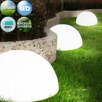 Solar lichtbol halfrond, set van 3, buitenverlichting, tuinverlichting, lichtbollen, solar wandverlichting