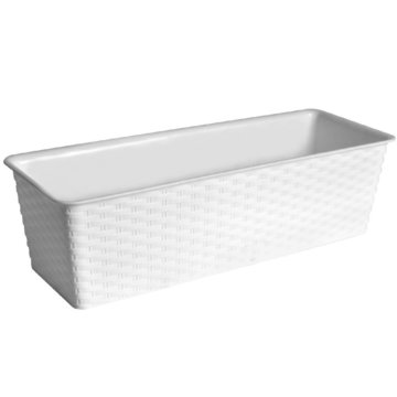 Bloembak wit, 50x18,5x14 cm, polyrattan-look