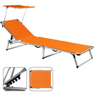 Aluminium Ligbed Oranje, met verstelbare zonneluifel