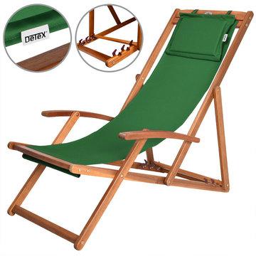 Strandstoel Acaciahout groen, tuinstoel, ligstoel