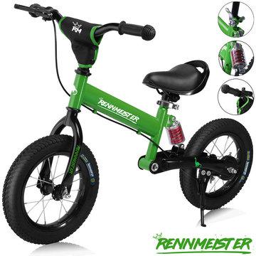 Kinder loopfiets groen met oefenzadel
