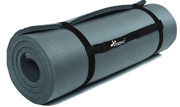 Yoga mat grijs/petrol 1,5 cm dik, fitnessmat, pilates, aerobics