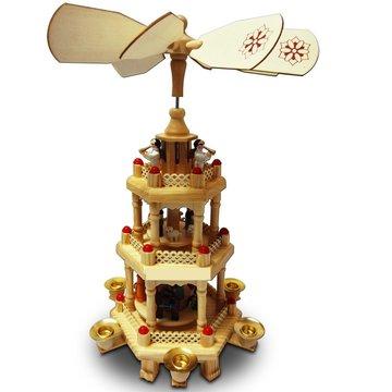Kerstpiramide uit hout 31 cm, kerst