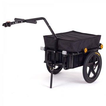 Fietsaanhanger met zwarte afdekhoes, fietskar, 70 liter