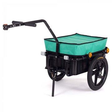 Fietsaanhanger met mintgroene afdekhoes, fietskar, 70 liter