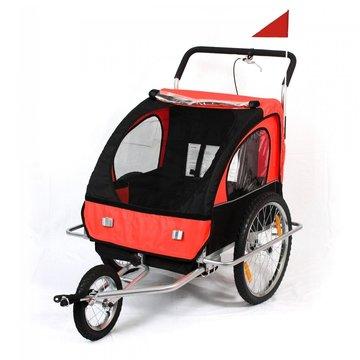 Fietsaanhanger fietskar kinderfietskar jogger in rood/ zwart