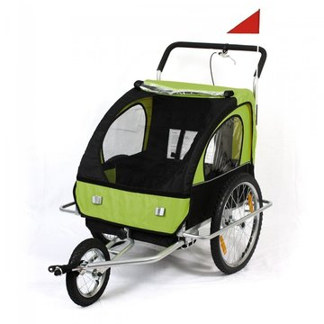 Fietsaanhanger fietskar kinderfietskar jogger in groen/ zwart
