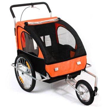 Fietsaanhanger fietskar kinderfietskar jogger in oranje/ zwart