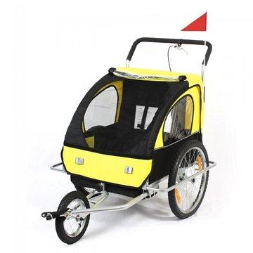Fietsaanhanger fietskar kinderfietskar jogger in geel/ zwart