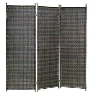 'ONNO' Kamerverdeler, kamerscherm, tuinscherm 183x183 cm, stalen frame, Polyrotan bruin/ mokka, ruimteverdeler