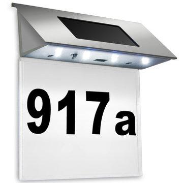 Huisnummer, ledverlichting, zonne energie - witte achtergrond