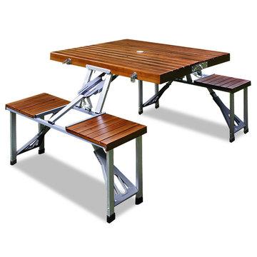 Campingtafel, picknicktafel, houten blad en zitting