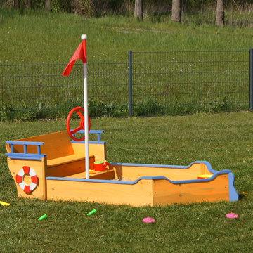 Zandbak, speeltoestel, boot, schip