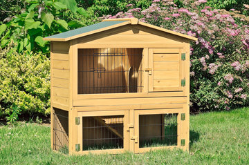 Konijnenhok met verdieping XXL, buitenverblijf voor konijn, cavia en andere knaagdieren